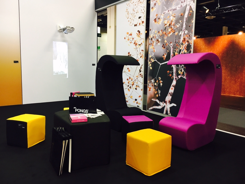 Chairs and cubes covered with sound absorbing digitally printed fabric by PONGS Textiles, one of the exhibitors and speakers at PID 2018