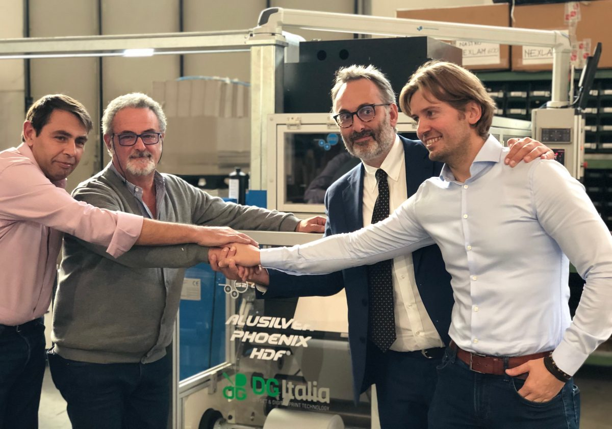 1. From left Yiannis Tselikas TS Converting Franco Nicastro S2 Converting Cosma Roberto Vercelloni DG Italia and Gregor Gajda of Tiger Coatings
